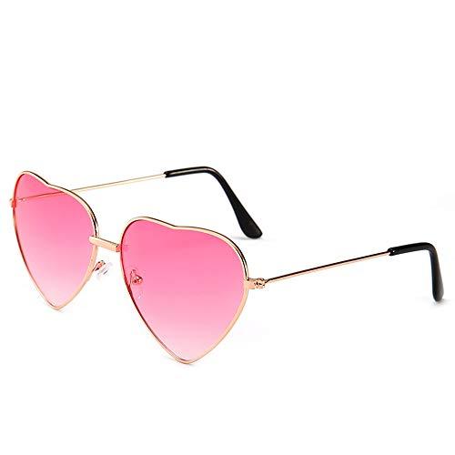 HUWAIYUNDONG Sonnenbrillen,Süßigkeit-Farben-Liebes-Herz-Geformte Sonnenbrille-Frauen-Metallrahmen-Retro- Sonnenbrille-Rosa-Steigung