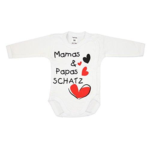 Baby Wickelbody mit Spruch Langarm Babybody 100% Baumwolle Langarmbody Mädchen Baby Body Junge, Farbe: Weiß - Mamas Papas Schatz, Größe: 68
