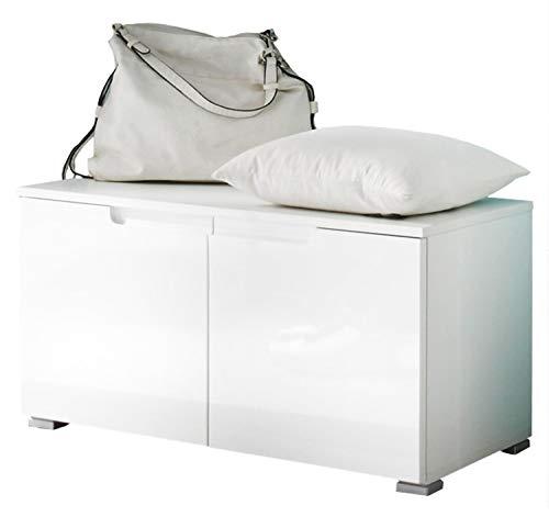 Avanti Trendstore - Spilla - Arredamento da Ingresso Elegante, in Laminato di Colore Bianco Opaco con Lati Anteriori in Bianco Lucido (Panchina da Guardaroba)