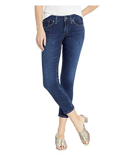 Silver Jeans Co. Damen Suki Curvy Fit Mid Rise Skinny Crop Jeans, Power Stretch Dark, 31W x 25L (Silver Jeans Damen Suki)