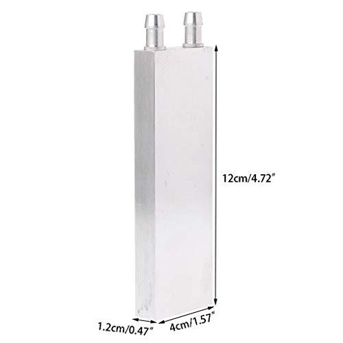 Yunso Wasserkühlung Block 40 * 120mm Aluminium für Flüssigkeit Wasserkühler Kühlkörper System Silber für CPU Grafiken Kühler Kühlkörper