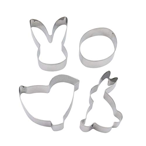 Lovemay 1Set Edelstahl Kuchen Ringform für Desserts Machen mit 4 Formen-Kaninchen-Kopf Ei Huhn Kaninchen
