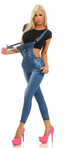 Fashion4Young Damen Jeans Latzhose Latz Jeans Träger Röhrenjeans Knöchellang Stretch Slim-Fit 10939-blau