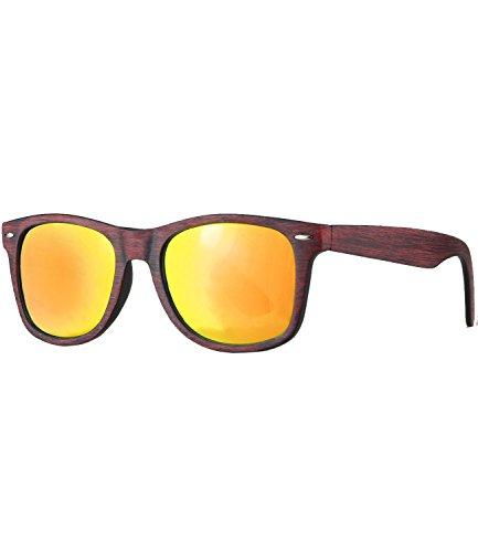 Caripe Retro Nerd Vintage Sonnenbrille verspiegelt Damen Herren 80er - SP (LS535 - Holzoptik rot - Sun verspiegelt)