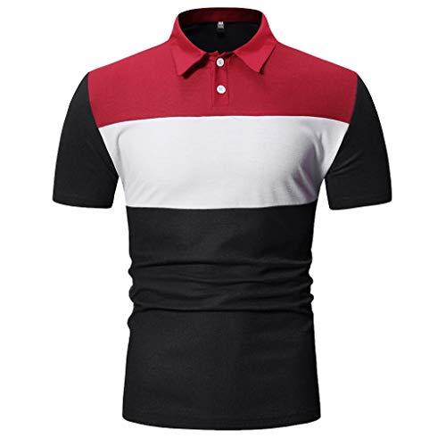 Cord Herren-shirt (CICIYONER Poloshirts Herren Kurzarm Tshirts Henry Painting Casual Top Blusen Polo Hemden Schwarz Marine Grau M L XL XXL)