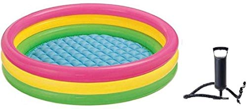 Inflatable Baby Pool - Multicolour (3 Feet) with Double Quick Hand Air Pump with 3 Nozzles for Beds ,Toys