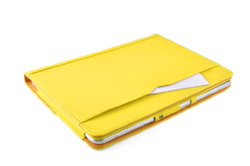 JAMMYLIZARD | Flip Cover custodia Smart Case in Pelle per Google Nexus 10, SABBIA e GIALLO