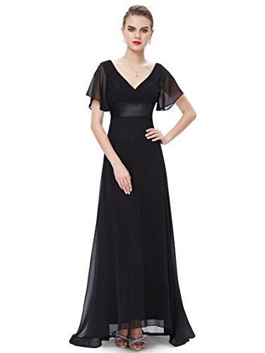Ever Pretty Glamorous Double V-Neck Ruffles Padded Evening Dress 16UK Black EP09890BK12