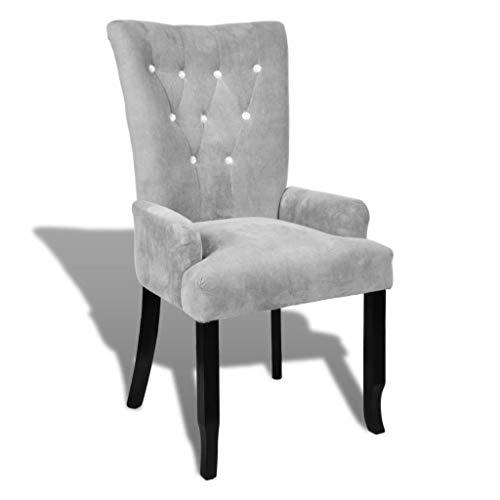 WT Trade Design Sessel mit Armlehnen und SAMT-Bezug | Polstersessel in Silber | mit Eiche-Holzrahmen | barock Esszimmerstuhl Vintage Polsterstuhl |Antik