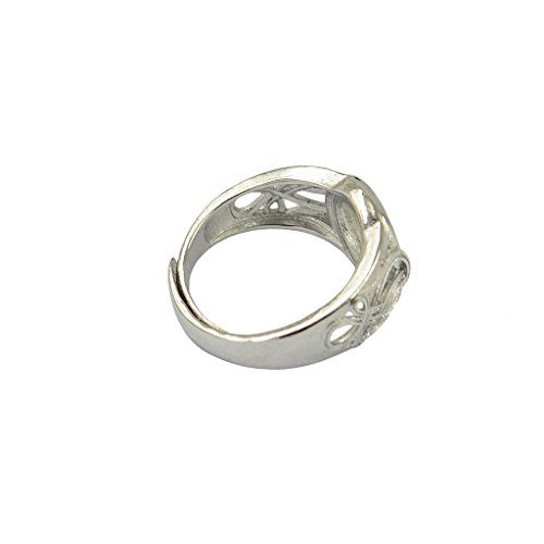 Electroprime® 2PCS Silver Round and Square Bezel Pad Adjustable Ring Blank Bases Setting