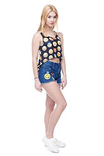 Bauchfreies Oberteil für den Sommer, Tank Top, weiß, Bluse für Damen und Mädchen, Größen S/M/L Weiß - Emoji Black