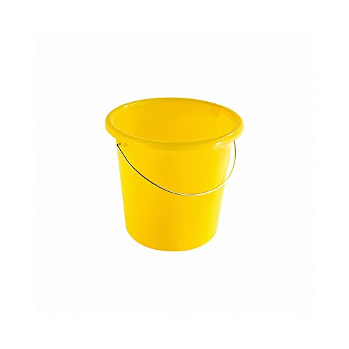 TEKO Kunststoff Haushalt Eimer mit Metall Halterung und Mess-, gelb, 30x 28,5x 27,5cm
