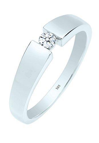 Diamore Damen-Ring 585 Weißgold Diamant (0.10 ct) weiß Brillantschliff Gr. 56 (17.8) - 0604120414_56 (Diamant Damen Ring Weißgold)