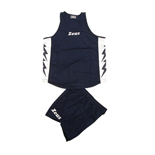 ZEUS KIT RUNNER BLU-BIANCO RUNNING COMPLETO COMPLETINO SPORT TORNEO PEGASHOP (XL)