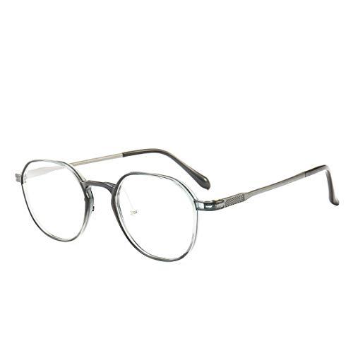 Karidesh Polygonale Brillengestell Modebrillen für Frauen, Nicht verschreibungspflichtige Brillen (Color : Gray)