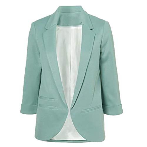 Grau Sport Coat Blazer (TOPKEAL Jacke Mantel Damen Herbst Winter Sweatshirt Steppjacke Kapuzenjacke Neun Viertel Hoodie Pullover Manschettenärmel Blazer Eleganter Slim Suit Outwear Coats Mode Tops (Grau, L))