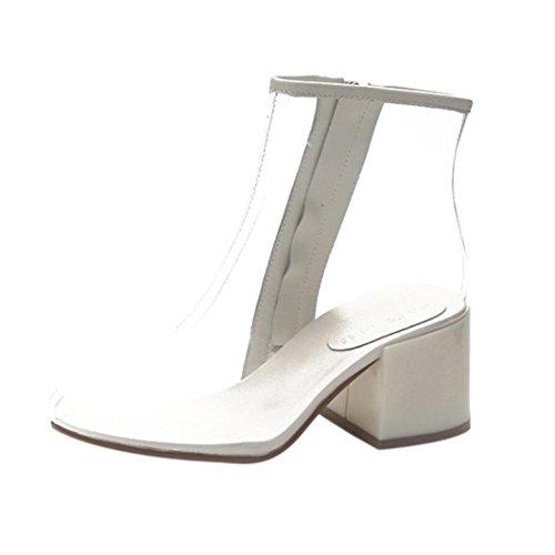 Naturazy Botas Altas Mujer Moda Verano Día Lluvioso Sandalias Transparente Botas De Cuadrado Tacón De Cuña Gladiador Zapatillas Peep Toe Tacones Mujeres Botines (EU:36/CN:37, Blanco)