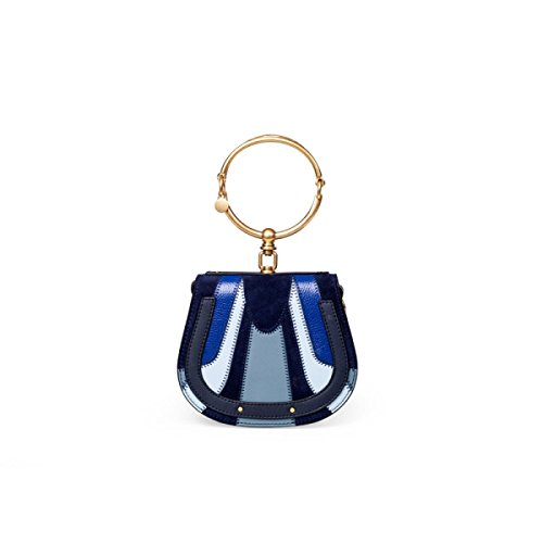FZHLY Borsa A Tracolla In Cuoio A Mezza Luna A Forma Di Sella A Cucitura Colpito A Spalla Messenger Bag,BlueFightColor(halfMonths) BlueFightColor(saddle-small)