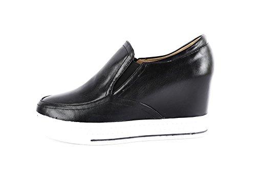 AllhqFashion Femme Matière Mélangee Tire Rond à Talon Correct Couleur Unie Chaussures Légeres Noir