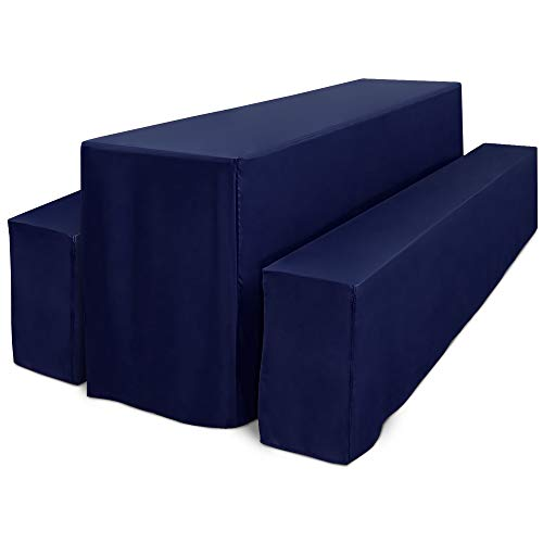 Beautissu Basic L Bierbank-Hussen & Biertisch-Husse 3 TLG Set bodenlang für 70cm breite Festzeltgarnitur Dunkel-Blau & weitere Farben