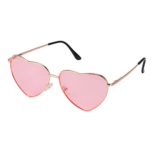 Winbang Sonnenbrille, Mode Vintage Sonnenbrille spiegellinse metallrahmen Herzform Brillen uv 400 Schutz für Frauen