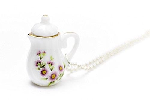 Miniblings Kaffeekanne Teekanne Kette Tee Kaffee 80cm Porzellan Goldrand schlank