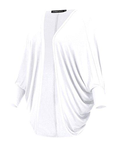 Damen Cardigan Langarm Strickjacke Flügel-Hülse Mantel Oberbekleidung Weiß