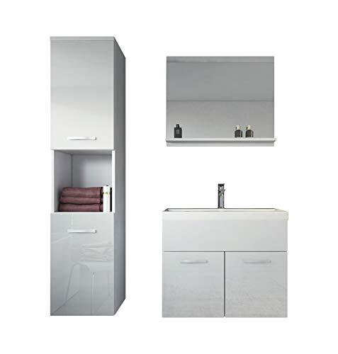 Badezimmer Badmöbel Montreal 60 cm Waschbecken Hochglanz Weiß Fronten - Unterschrank Hochschrank Waschtisch Möbel -