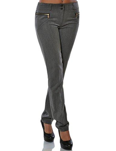 Damen Hose Business Stoffhose Straight Leg (Gerades Bein) No 15748, Farbe:Grau, Größe:XXL / 44
