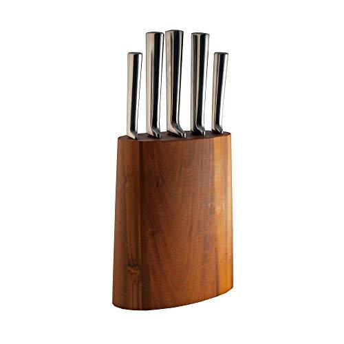 Fissler Messerblock Akazia, 5 Messer aus Edelstahl + Block Akazienholz