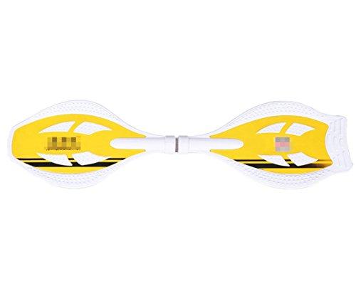 OGTOP Professionelles SkateboardCasterboard Mit Leuchträdern Handgriff Und Tragetasche,Yellow-OneSize