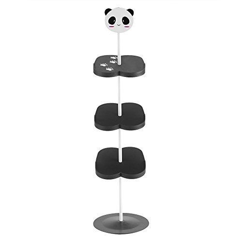Scarpiera per bambini, 4 strati cartoon animal pattern shoes mensola portatile per risparmiare spazio(black panda)