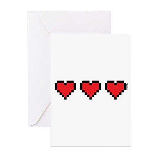Videospiel-geburtstags-karte (CafePress–3Herzen–Grußkarte, Note Karte, Geburtstagskarte, innen blanko, matt)