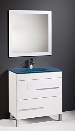 modulintel u conjunto de bao claudia cm lavabo cristal u mueble cm blanco cajones espejo sin iluminacin y lavabo cristal