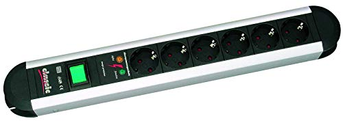 Bachmann 331.013 Tischsteckdose Classic Line Alu 6-fach mit berspannungsschutz und Schalter