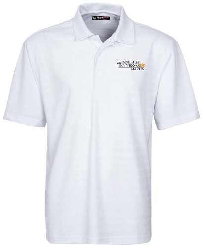 NCAA Tennessee AT Martin Herren Textured Stripe Golf Polo, Weiß, Größe M (Polo Performance Textured Stripe)