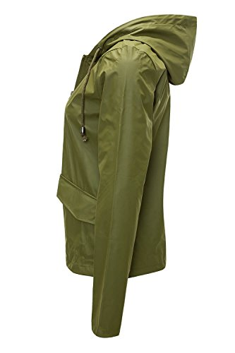 Jacqueline de Yong ONLY Damen Übergangsjacke Regenjacke Windbreaker SHORT RAINCOAT Dark Olive
