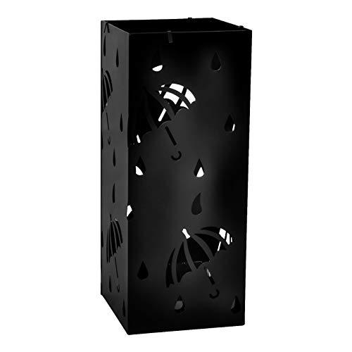 E-starain portaombrelli rettangolare in ferro con vaschetta e gancini, design moderno in gocce di pioggia porta ombrelli metallico ingresso,nero,20x20x49cm