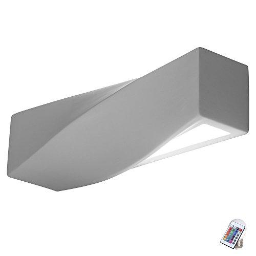 Wand Strahler dimmbar Fernbedienung Keramik Flur Lampe bemalbar im Set inkl. RGB LED Leuchtmittel -