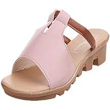 Sandalias Mujer Verano 2019,YiYLunneo Sandalias Recortadas De Verano Moda SóLido Playa Diapositivas Zapatillas Zapatos