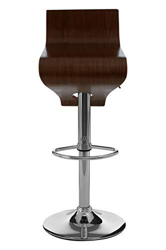 Premier Housewares Verstellbarer Barstuhl mit Walnussholz-Sitz und Chromsockel 73-94x35x41 cm