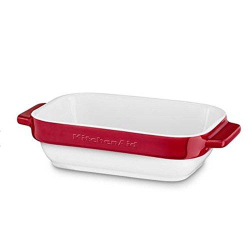 Kitchenaid Auflaufform, Keramik, weiß/rot, 20x11.5x5 cm