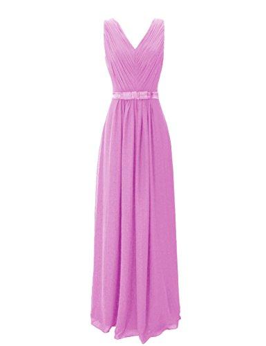 Dresstells, Robe de soirée de mariage/cérémonie/demoiselle d'honneur col V longueur ras du sol avec ceinture Lilas