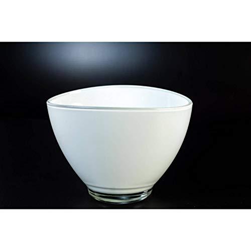 INNA-Glas Vase Ovale - Coupe à Plante en Verre Berry, Blanc, 19,5 x 14,5cm - Coupelle apéritif - Coupe décorative