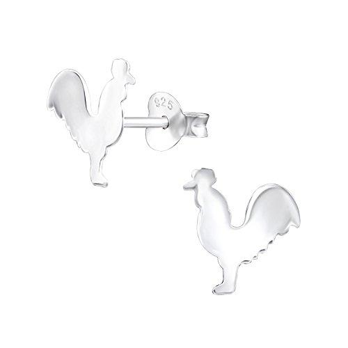 Laimons Mädchen Kids Kinder-Ohrstecker Ohrringe Kinderschmuck Hahn Huhn Tier Bauernhof glanz aus Sterling Silber 925 Le Hahn