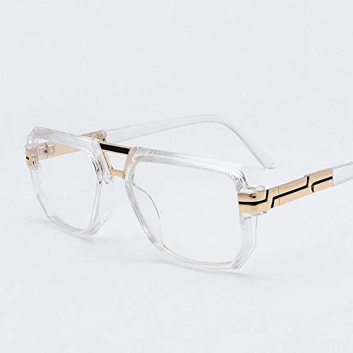 Polarisierte Sonnenbrille mit UV-Schutz Retro Square Frame Sonnenbrillen Punk Sonnenbrillen literarischen Fan flache Brille. Superleichtes Rahmen-Fischen, das Golf fährt ( Farbe : Clear frame )