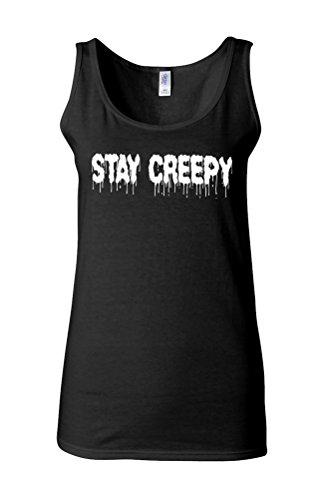 Stay Creepy Scary Novelty White Femme Women Tricot de Corps Tank Top Vest *Noir