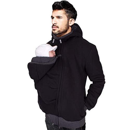 Sallypan Männer Hoodie, Langarm Schwarz Herbst Winter Sweatshirt Hoodies Trainingsanzüge Mit Front Kangaroo Pocket,M