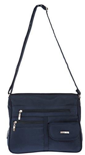 Handtasche ALESSANDRO MADRID Schultertasche Damentasche Microfaser Tasche 3055 + Schlüßeletui (Blue-Blau) Blue-Blau