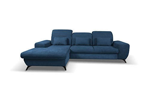 Canapé d'angle convertibles | Appuie-tête réglables | tissu CORSE (Bleu marine, Canapé d'angle gauche)